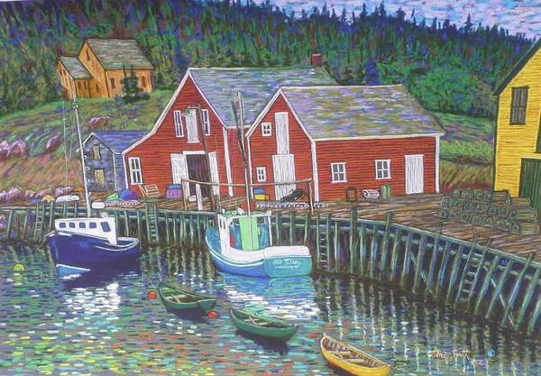 Pastels Art Print featuring the pastel New Harbour N.s. by Rae Smith
