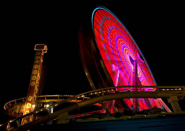 Ferris Wheel Art Print featuring the photograph Night Light by Thanh Thuy Nguyen