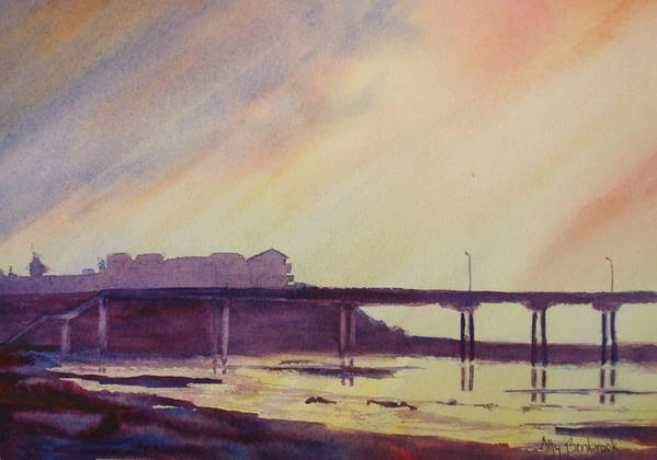 Sunset Art Print featuring the painting Ocean Beach Pier 4 by Ally Benbrook