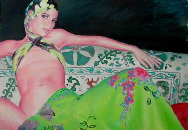 Donna Art Print featuring the painting Odalisca by Gustavo Aresu