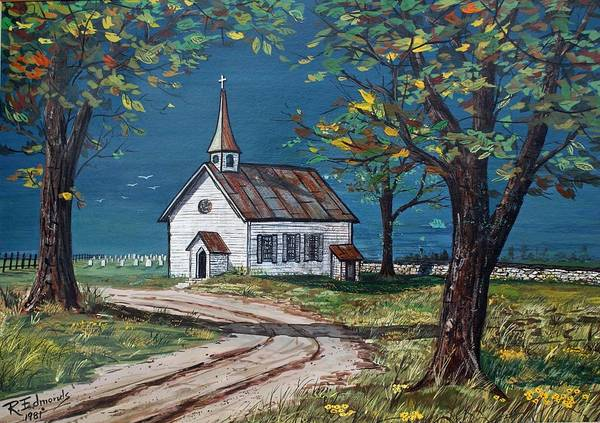Church Art Print featuring the painting On The Road Home by Raymond Edmonds