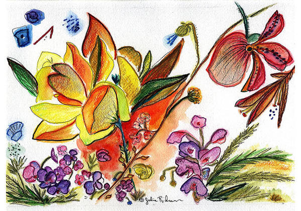Flowers Art Print featuring the painting Orchid No. 30 by Julie Richman