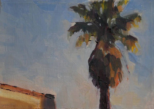 Landscape Art Print featuring the painting Palm Tree In Winter Light by Merle Keller