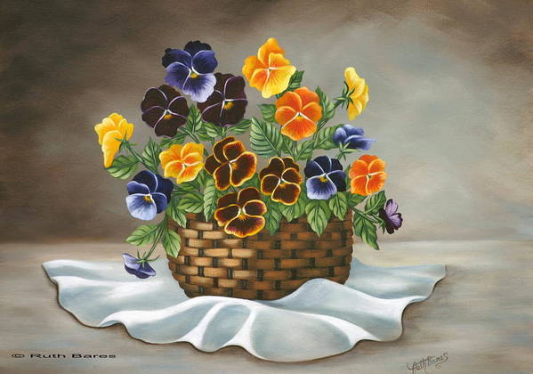 Floral Art Print featuring the painting Pansy Basket by Ruth Bares