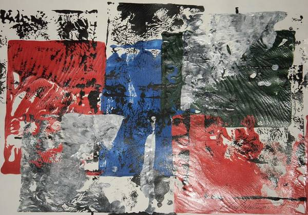 Abstract Art Print featuring the painting Paper Target by Edward Wolverton