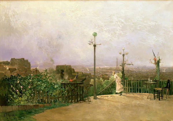 Paris Print featuring the painting Paris Seen From The Heights Of Montmartre by Jean dAlheim