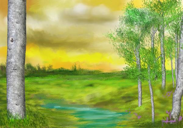 Landscape Art Print featuring the digital art Pastoral by David Lane