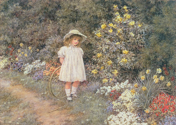 Hoop; Cerceau; Child; Little Girl; Garden; Flowers Art Print featuring the painting Pause For Reflection by Helen Allingham