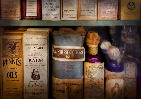 Hdr Art Print featuring the photograph Pharmacy - Oils And Balms by Mike Savad