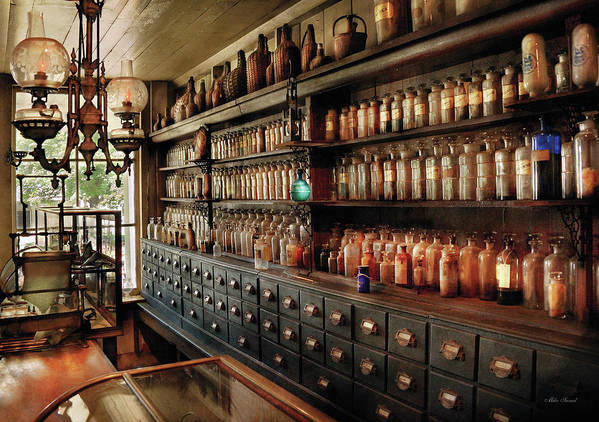 Pharmacy Art Print featuring the photograph Pharmacy - So Many Drawers And Bottles by Mike Savad