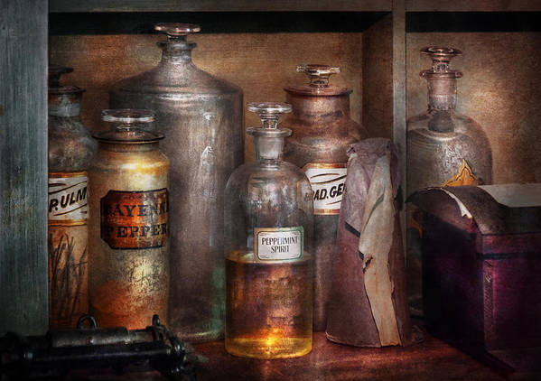 Apothecary Art Print featuring the photograph Pharmacy - That's The Spirit by Mike Savad