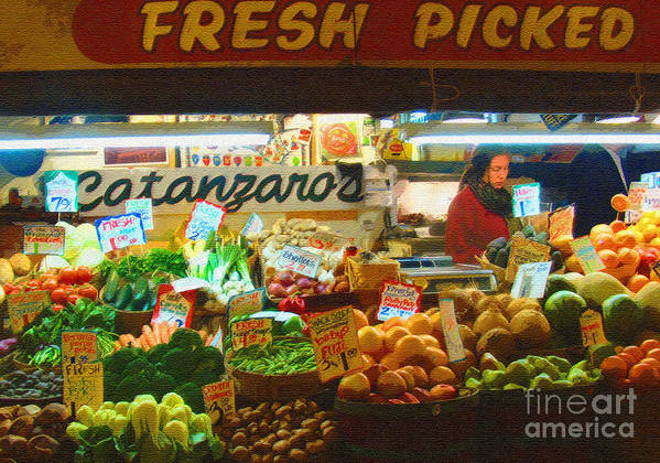 Produce Art Print featuring the photograph Pike Place Market Produce by Lydia L Kramer