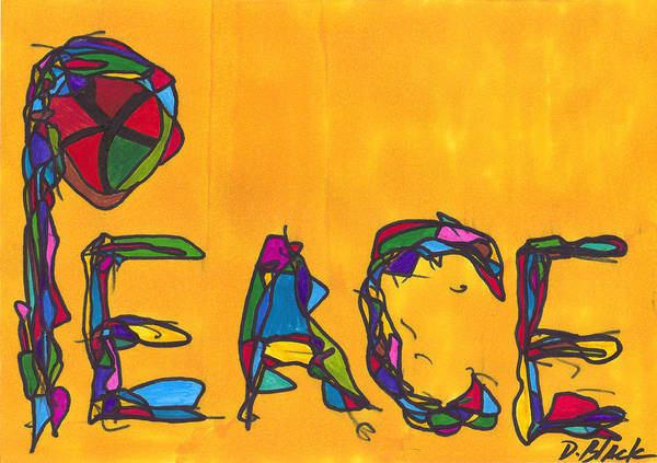 Darrell Black Art Print featuring the drawing Pillar Of Peace by Darrell Black