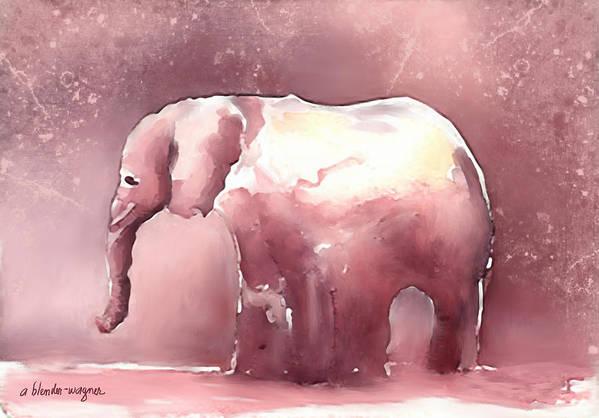 Elephant Art Print featuring the digital art Pink Elephant by Arline Wagner