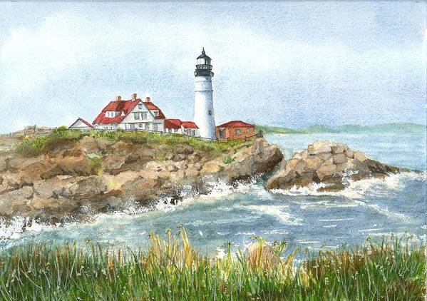 Lighthouses Art Print featuring the painting Portland Headlight by Mary Dunham Walters