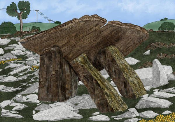 Landscape Art Print featuring the painting Poulnabrone Dolmen County Clare Ireland by Anne Norskog