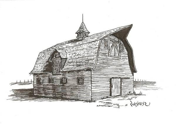 Barn Art Print featuring the drawing Prairie Barn by Rick Stoesz