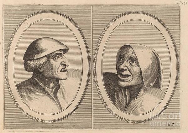 """Art Print featuring the drawing """"dief-achtighe Tijs"""" And """"nies Spoel-de-nap"""" by Johannes And Lucas Van Doetechum After Pieter Bruegel The Elder"""