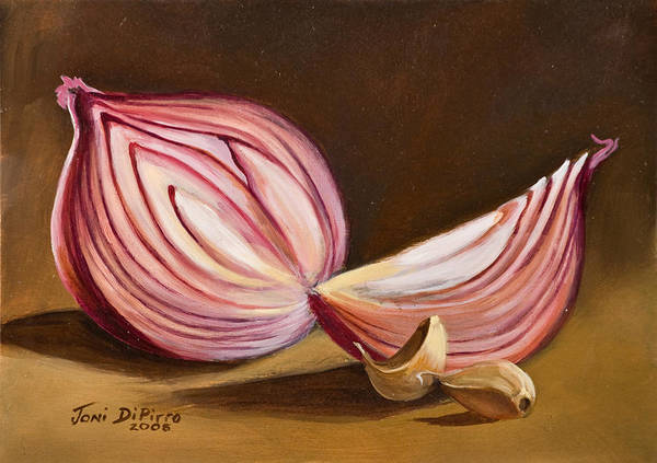 Onion Art Print featuring the painting Red Onion Still Life by Joni Dipirro