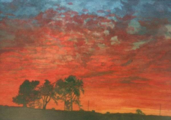 Landscape Art Print featuring the painting Red Sky Delight by Lynn ACourt