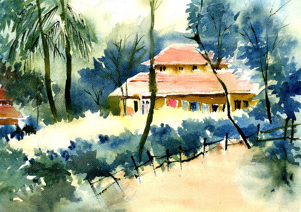 Landscape Art Print featuring the painting Rest House by Anil Nene