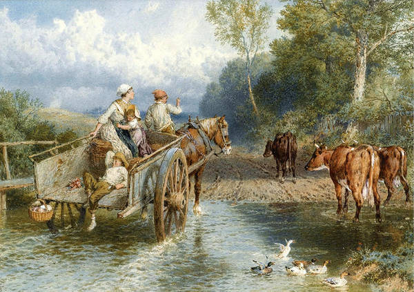 Myles Birket Foster Art Print featuring the drawing Returning From Market by Myles Birket Foster