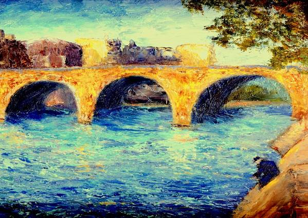 Impressionism Art Print featuring the painting River Seine Bridge by Gail Kirtz