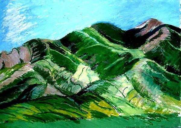 Landscape Art Print featuring the drawing Sacred Mountain by Lorna Ritz