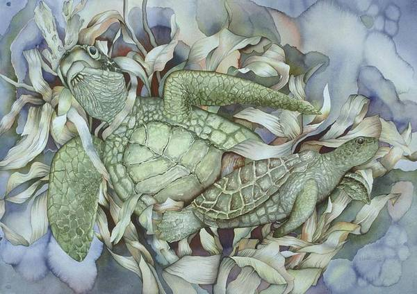 Sea Art Print featuring the painting Sea Turtles Mum And Babe by Liduine Bekman