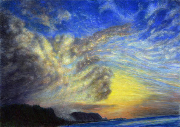Coastal Decor Art Print featuring the painting Secret Beach Sunset by Kenneth Grzesik
