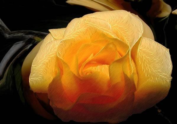Rose Art Print featuring the digital art Silken Yellow Rose by Kae Cheatham