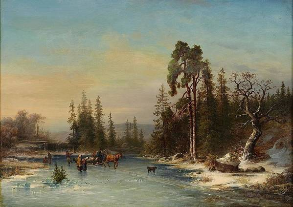 Joseph Magnus Stack 1812-1868 Skating Children And Slädekipage On Frozen Pond Art Print featuring the painting Skating Children by MotionAge Designs