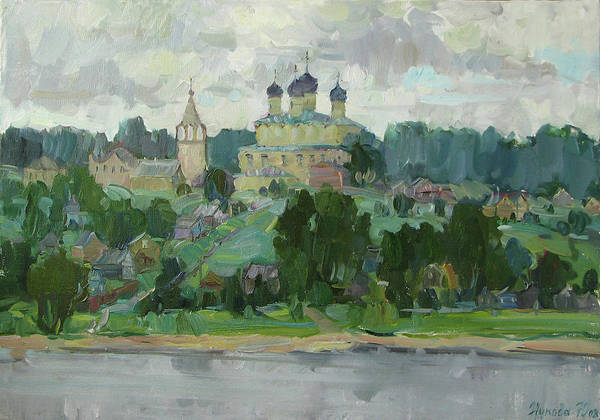 River Art Print featuring the painting Small Town On The River Volga by Juliya Zhukova