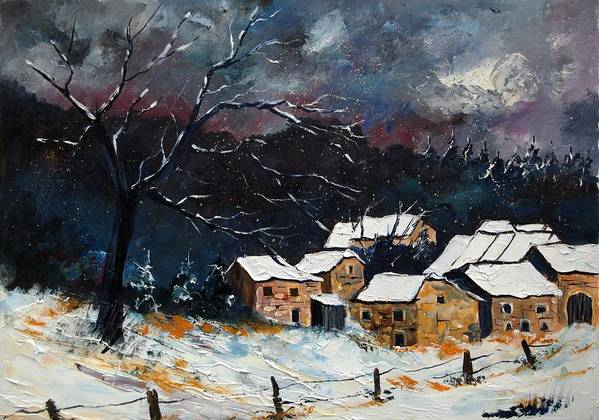 Snow Art Print featuring the painting Snow 57 by Pol Ledent