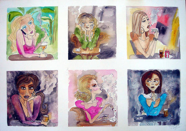 Women Cafe Spain Art Print featuring the painting Social Whirl by Jenni Walford