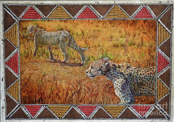 Cheetahs Art Print featuring the painting Stalking Cheetahs by Carol J South