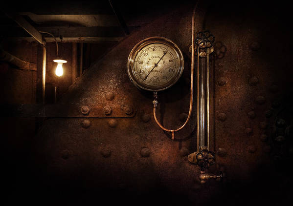 Hdr Print featuring the photograph Steampunk - Boiler Gauge by Mike Savad