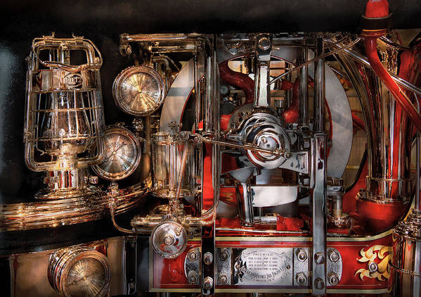Hdr Print featuring the photograph Steampunk - Check The Gauges by Mike Savad