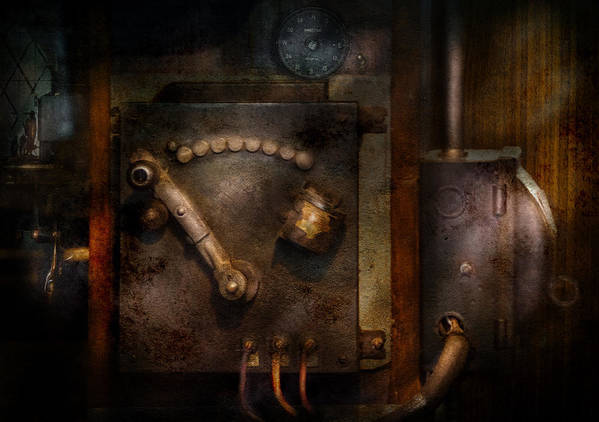Hdr Art Print featuring the photograph Steampunk - The Control Room by Mike Savad