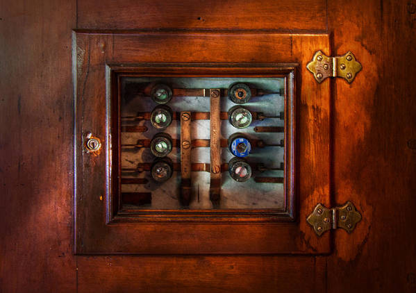 Hdr Art Print featuring the photograph Steampunk - Electrical - The Fuse Panel by Mike Savad