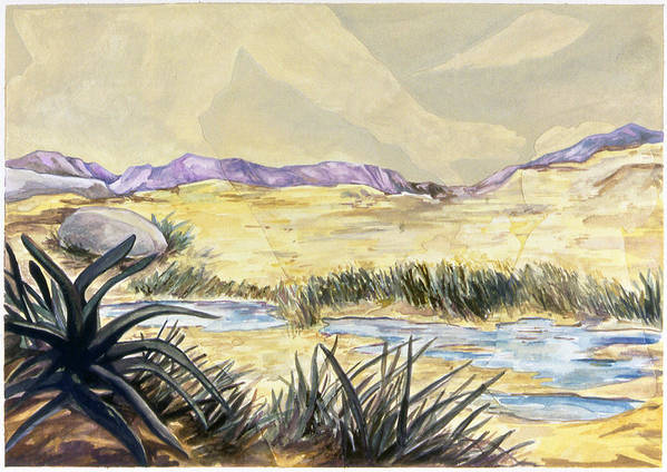 Karl Art Print featuring the painting Sticker Landscape 3 Desert by Karl Frey