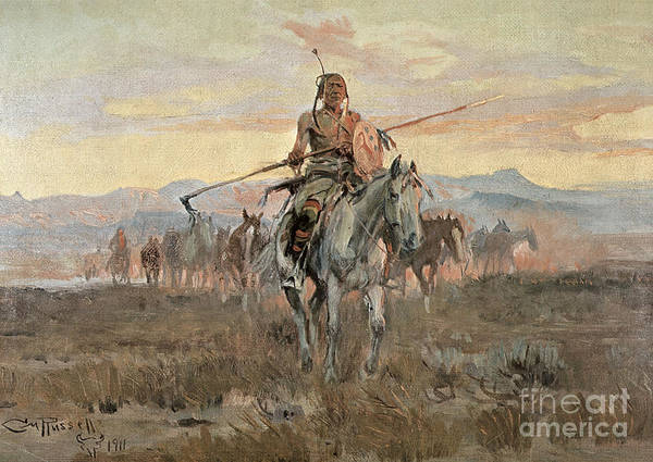 Old West; Wild West; Native American Indian; Indians; Leading; Chief; Great Plains; American Landscape; Horse; Theft; Traditional Costume; Traditional Dress; Herd Of Horses; Us; Usa Art Print featuring the painting Stolen Horses by Charles Marion Russell