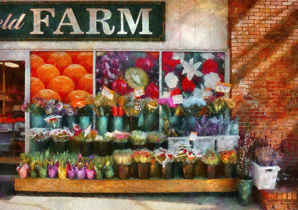 New Jersey Art Print featuring the photograph Store - Westfield Nj - The Flower Stand by Mike Savad