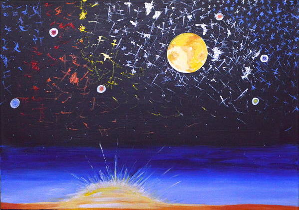 Sun Art Print featuring the painting Sun Moon And Stars by Donna Blossom