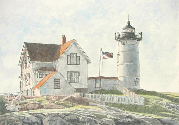 Watercolor Art Print featuring the painting Sunrise At Nubble Light by Dominic White