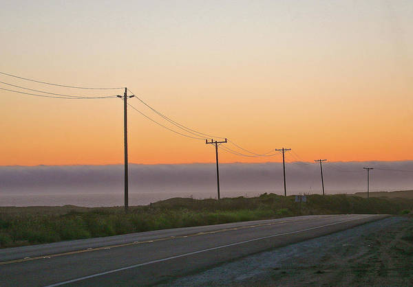 Sunsets Art Print featuring the photograph Sunset And Telephone Wires by Liz Santie