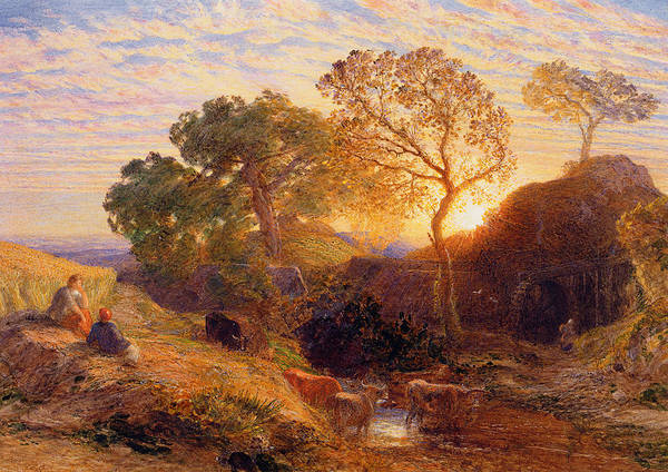 Sunset Art Print featuring the painting Sunset by Samuel Palmer