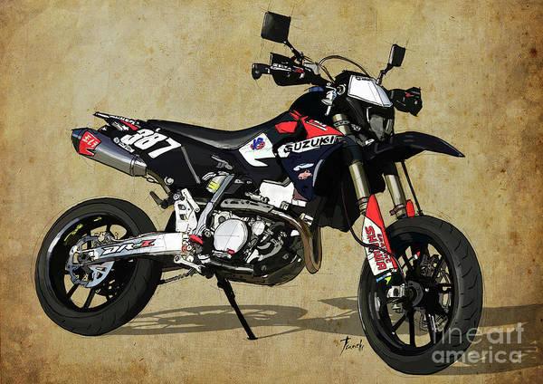 Suzuki Art Print featuring the digital art Suzuki Race Motorcycle. 387. by Drawspots Illustrations
