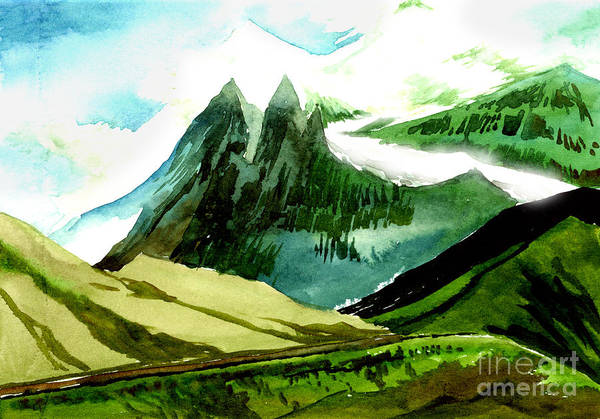 Landscape Art Print featuring the painting Switzerland by Anil Nene