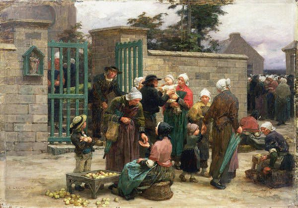 Taking Art Print featuring the painting Taking In Foundlings by Leon Augustin Lhermitte